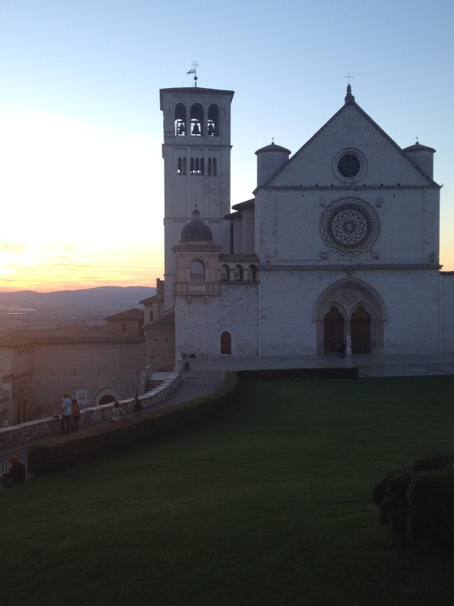Sunset over the Basillica of St. Francis of Assisi.