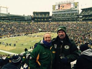 Rhonda and Rowe at Lambeau.